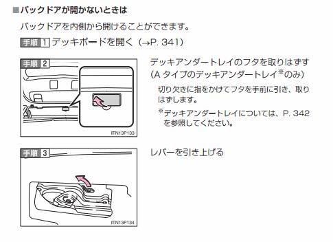 プリウス30型トランクの開け方
