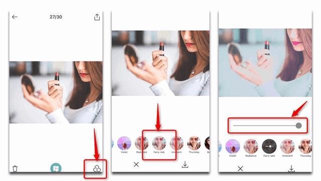B612アプリで唇をピンクに加工する