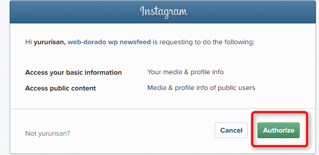 Instagram連携許可