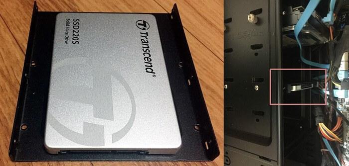 2.5インチのSSDを3.5インチ変換ブラケットをつけてデスクトップの3.5インチベイしかないPCケースに設置