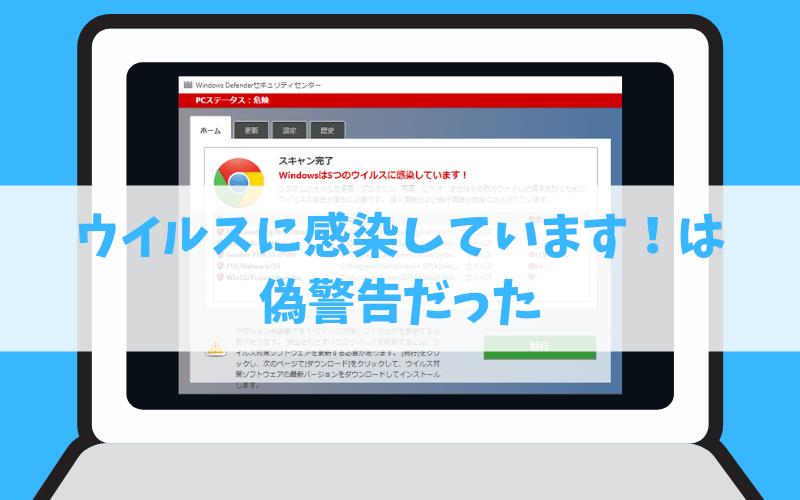 WindowsPCのウイスルに感染しています警告は偽広告